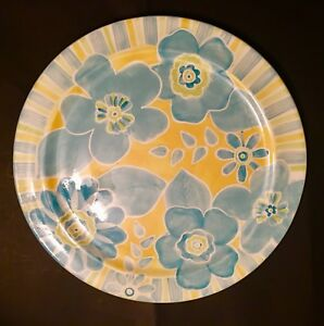 """Beautiful Laurie Gates Yellow Blue Floral Round Large 15"""" Serving Platter"""