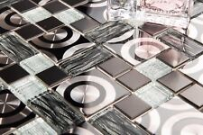 Black & Silver Glass with Steel Bathroom Kitchen Mosaic Tile (GTR10175)