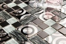 Black & Silver Glass with Steel Bathroom Kitchen Mosaic Tile 0175
