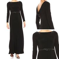 NWT $179 Adrianna Papell Long Dress Gown Bead Lace Bodice Black Maxi Size 12