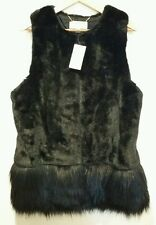 NWT Michael Kors Black Faux Fur Womens  Vest Jacket Medium M
