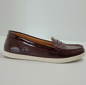 Naturalizer Womens Shoes Size 10W 'Gwen' Burgundy Loafer Flat Slip On Comfort