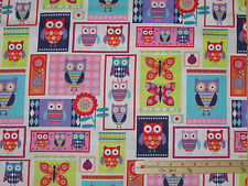 Wings-n-Things Owl Patch Hoot Fabric by the 1/2 Yard   #3093