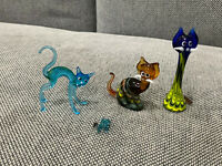 Vintage Lot of 4 Art Glass Kitty Cat Figurines