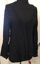 Mossimo Black Blouse Babydoll Tunic Bell Long Sleeve size M(0369)