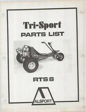 Reproduction Alsport Tri-Sport Parts List Manual RTS8 RTS-8