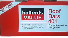 HALFORDS 401 Roof Bar Sets for Vehicle Without Rain Gutters -10411