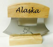 Alaskan Ulu Knife Stainless Steel Blade With Etched Alaska Word On The Handle