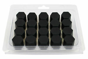 20 x Silicone Wheel Screws Nuts Caps Bolts Covers 17 mm BLACK fit FORD FIESTA X1