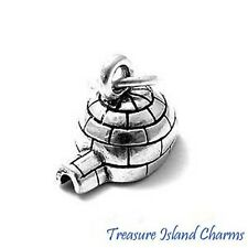 SMALL IGLOO ESKIMO INUIT ICE HOUSE 3D .925 Sterling Silver Charm