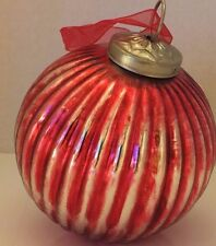 Glass Blown Christmas Tree Ornament Vintage Looking Ball Red Distress Decor