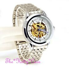 Automatic Mechanical Skeleton Steampunk Vintage Antique Look Silver Unisex Watch