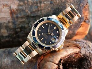 Vintage Rolex Submariner Solid 18ct Gold, tropical nipple dial Men's Watch