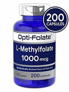 L Methylfolate 1000mcg | 200 Capsules | Value Size | Optimized and Activated | N