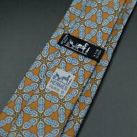 Hermes Paris Made In France Brown Chain Pattern Silk Tie 7055 TA