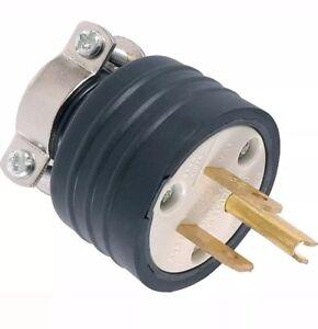 GE Heavy Duty Straight Blade 3-Slot Grounding Plug (Black) - 52146