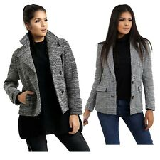 Women's New Tweed Effect Open Jackets Grey Button Design Classic Blazer Coats