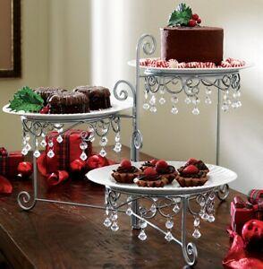 Beaded 3 Tier Silver-tone Swivel Holiday Thanksgiving Cake Dessert Server