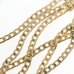 "Long 20"" Gold Mens Womens Flat Chain Cuban Link Necklace Punk Hip hop Jewelry"
