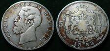 ORIGINAL ROMANIA KINGDOM 1883 KING CAROL I 5 LEI SILVER COIN