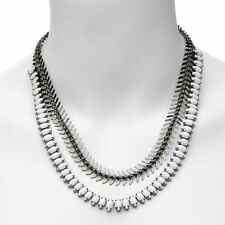 NEW Elizabeth Cole Sable Black and White Hematite Plate Necklace