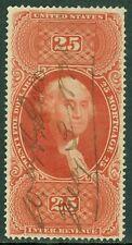 """EDW1949SELL : USA 1862 Scott #R100c VF, Used. ¼"""" sealed margin tear. Cat $250.00"""