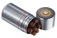 Metal 7 Cigar Travel Humidor Case - 58 Ring Gauge Humidor W/ Hygrometer Silver
