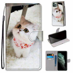 Scarf Cat Cute Cartoon Antislip Wallet Card Case Cover Back For Various Phone