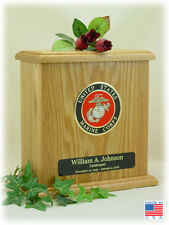 Wood Military Cremation Urn - Marine Corps - Made In The USA