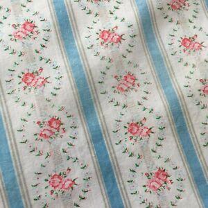 SET 2 VTG Pillow Protectors Pink Roses Blue Stripes Floral Pillowcases Zippers