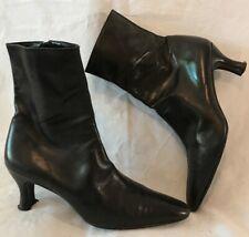 Pura López Black Ankle Leather Lovely Boots Size 39 (454v)