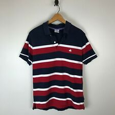 Brooks Brothers Navy Red Striped Polo Shirt Mens Slim Fit Size Medium