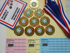 FOOTBALL MEDALS X 10 METAL/50MM /GOLD -SILVER OR BRONZE/ CERTIFICATES/ CARDS