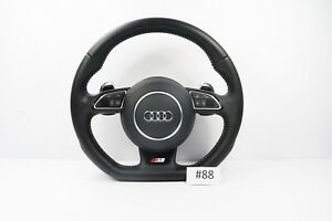 Audi A1 S1 S Line Flat Bottom Perforated Leather Steering Wheel with Airbag #88