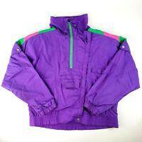 Vintage 80s Womens Color Block Windbreaker 1/4 Zip Track Jacket Andy Johns Sz M