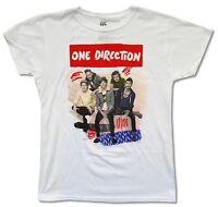 One Direction Scribble Girls Juniors White T Shirt New Official Band Merch 1D