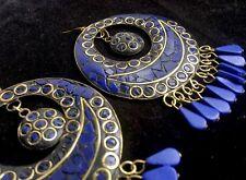 Bohocoho Peculiar Boho Gitano 70s estilo mosaico enorme Azul Profundo Pendientes De Aro flecos