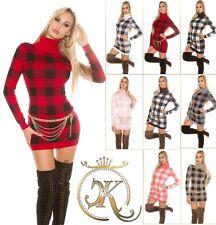 Sexy KouCla Rollkragen Strickkleid Longpullover Minikleid Kleid Dress kariert