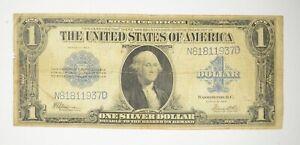 "HUGE Horse Blanket 1923 $1 Silver Certificate Large Size Note Over 7"" Long *453"