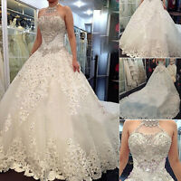 Luxury Crystal halter Wedding Dresses Beading Lace Ball Gown Brides Dress Custom