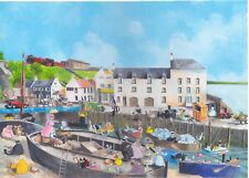 Busy Day at Lower Largo Harbour. Print.