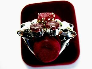 St. Silver Panther Ring With 3.12 ct. Rubies & Onyx, Size L 1/2