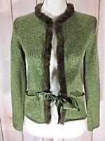 Harold's Cardigan Sweater Wool Cashmere Blend XS Heather Green Ribbon Close