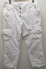 Baby Phat Capri White Pants Linen 30 Inches Cotton 3 Gold Buttons Summer Beach