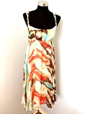 Diane Von Furstenberg DVF Dress 10 Pure Silk Multi Color Penny Knotted Straps