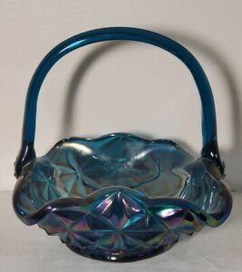Vintage Blue Carnival Glass Basket