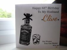 Handmade Personalised Male Whiskey Birthday Card Husband Son Dad Grandad etc