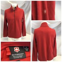 Victorinox Fleece Pullover M Red Poly 1/4 Zip Swiss Army Knife Mint YGI E9-273