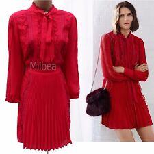 New Karen Millen Atelier Red Ruffled Frill Lace Cocktail Bow Dress UK 14 42