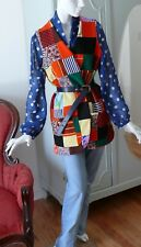 1970`s Fun Patchwork Polyester Vest with pockets , as seen in magazine now S-L